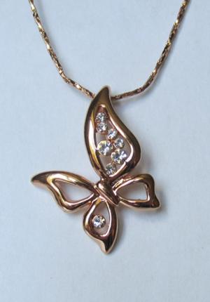 Кулон с цепочкой позолоченный в виде асимметричной бабочки