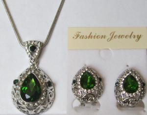 Комплект цепочка и серьги с зеленым фианитом