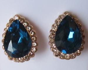 Серьги позолоченные E-021-blue цена