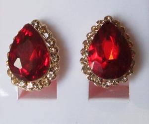 Серьги с позолотой E-021-red бижутерия