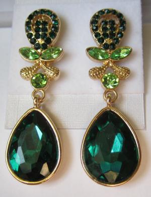 Серьги E-054-green цена