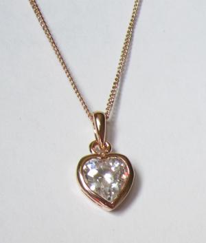 Позолоченный кулон в виде сердца с цепочкой и фианитами