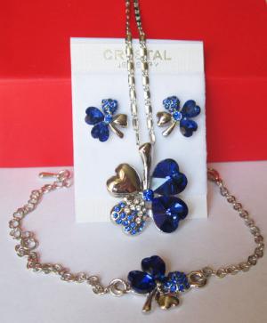 Комплект бижутерии с синими кристаллами Сваровски