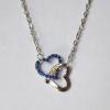 Кулон с цепочкой два сердца с синими кристаллами