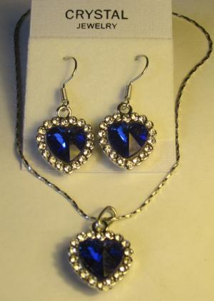 Комплект цепочка и серьги в форме сердца с синим фианитом