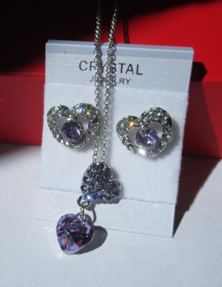 Комплект цепочка и серьги в виде сердца с вианитами и розовым кристаллом