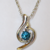 Кулон с цепочкой с голубым кристаллом Сваровски