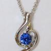 Кулон с цепочкой с синим кристаллом Сваровски
