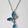 Кулон с цепочкой в виде бабочки с голубыми кристаллами