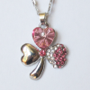 Кулон с цепочкой и розовыми кристаллами Сваровски