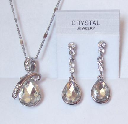Комплект бижутерии цепочка и серьги с белым кристаллом Сваровски