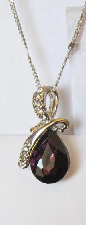 Кулон с цепочкой и бордовым кристаллом