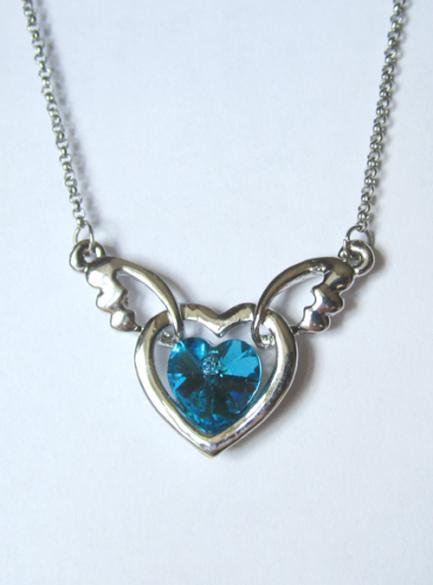 Кулон с цепочкой в виде сердца с голубым кристаллом Сваровски