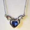 Кулон с цепочкой в виде сердца с синим кристаллом Сваровски