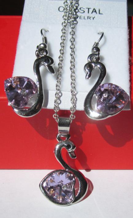 Комплект цепочка и серьги в виде лебедя с кристаллами Сваровски