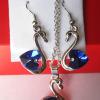 Комплект цепочка и серьги в виде лебедя с синими фианитами