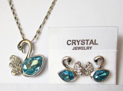 Комплект бижутерии в виде лебедя с голубыми кристаллами