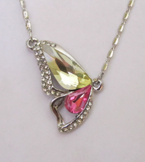 Кулон с цепочкой с розовым и желтым кристаллами
