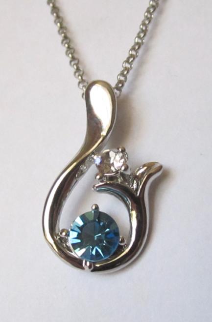 Кулон с цепочкой и голубым кристаллом Сваровски