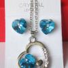 Комплект бижутерии в форме сердца с голубым кристаллом Сваровски