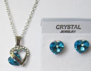 Комплект цепочка и серьги в виде сердца c кристаллами Сваровски