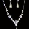 Комплект бижутерии ожерелье и серьги со стразами и фианитами