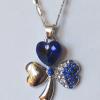 Кулон с цепочкой с фианитами и синими кристаллами Сваровски