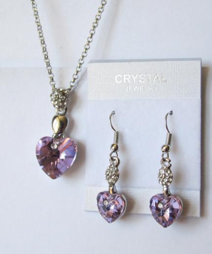 Комплект бижутерии с розовыми кристаллами Сваровски