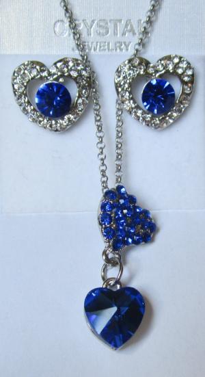 Комплект с синими фианитами и кристаллами Сваровски: кулон с цепочкой и серьги