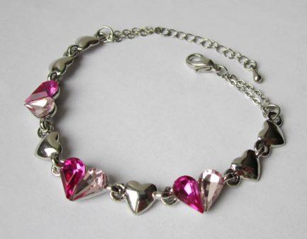Браслет серебряный с розовыми фианитами
