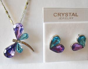 Комплект серьги в форме сердечка и цепочка с кулоном в виде бабочки с кристаллами Сваровски