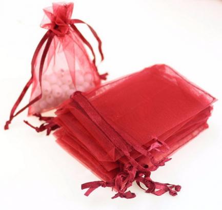 Мешочек для бижутерии из красной органзы