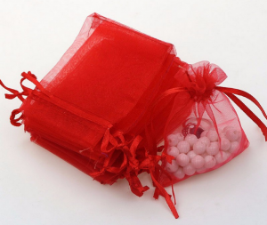 Мешочек для украшений из красной органзы
