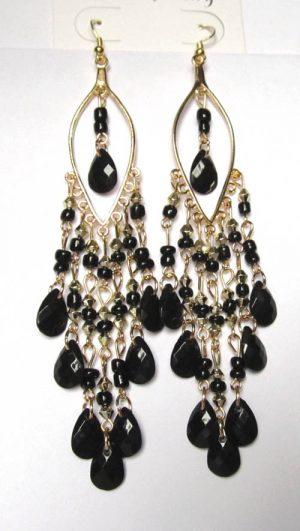 Серьги E-004-black цена