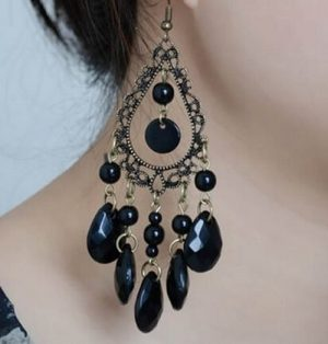 Серьги E-027-black цена