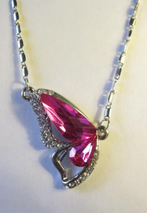 Кулон с цепочкой половинка бабочки с розовым кристаллом и фианитами