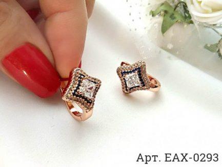 Серьги с фианитами EAX-0293 бижутерия под золото