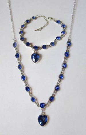 Комплект браслет и цепочка с синими фианитами