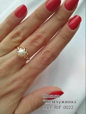 Кольцо жемчугом RIF-0022 ювелирный сплав