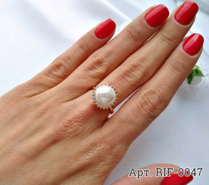 Кольцо с жемчугом RIF-0047 недорого