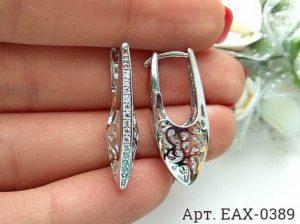 Родированные серьги с фианитами EAX-0389 бижутерия