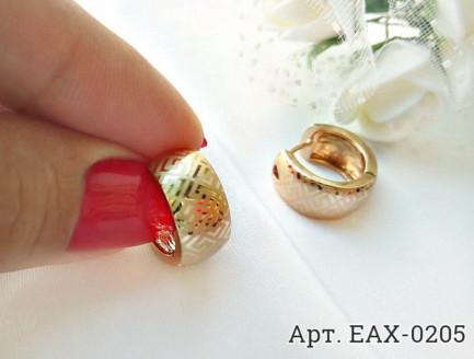 Cерьги с золотым покрытием EAX-0205 вид сбоку