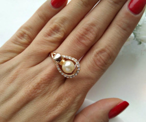 Кольцо с жемчугом RF-0012-oks цена