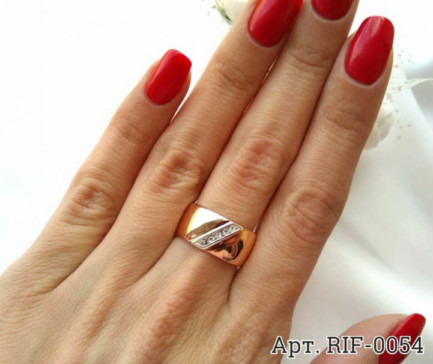 Кольцо позолоченное с фианитами RIF-0054 купить
