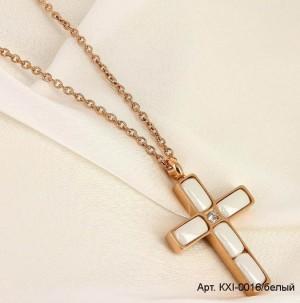 Кулон крестик с белой керамикой позолоченный с цепочкой