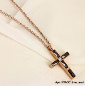 Кулон крест с черной керамикой на цепочке