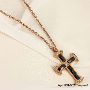 Кулон крест с черной керамикой и фианитами