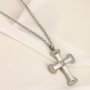 Кулон родированный в виде креста с белой керамикой