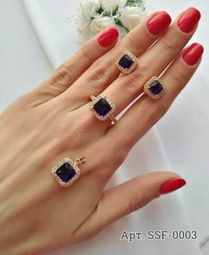 Комплект кулон, кольцо, серьги с фианитами под сапфир