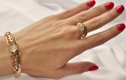 Комплект позолоченный браслет и кольцо